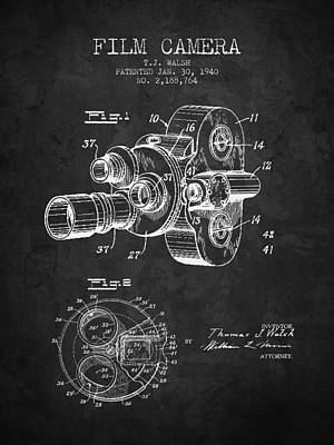 Camera Digital Art - 1938 Film Camera Patent - Charcoal - Nb by Aged Pixel