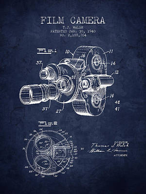 1938 Film Camera Patent - Navy Blue - Nb Print by Aged Pixel