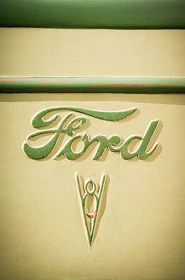 Ford Truck Photograph - 1938 Ford Rat Rod Panel Truck V8 Emblem -ck0119c by Jill Reger