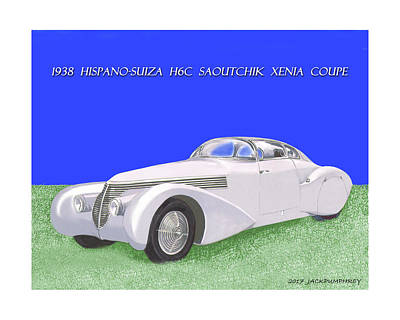 Since Painting - 1938 Hispano Suiza H6c Saoutchik Xenia Coupe by Jack Pumphrey