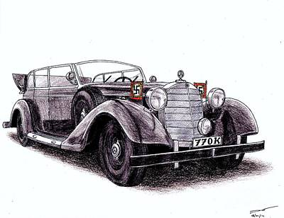 Mercedes Automobile Drawing - 1938 Mercedes-benz 770k by Dan Poll
