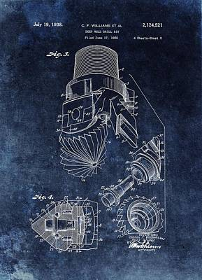 Drawing - 1938 Oil Drill Bit Patent  by Dan Sproul
