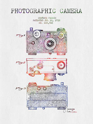 Camera Digital Art - 1938 Photographic Camera Patent - Color by Aged Pixel