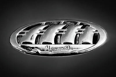 Photograph - 1938 Plymouth Sedan Emblem -0458bw by Jill Reger