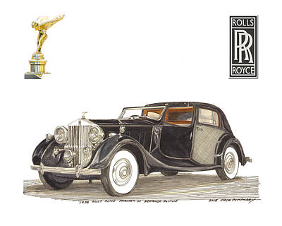 Painting - 1938 Rolls Royce Phantom I I I Sedanca Deville by Jack Pumphrey