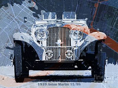 Concept Design Drawing - 1939 Aston Martin 15-98 Over New Orleans Vintage Blue And Orange Map by Pablo Franchi