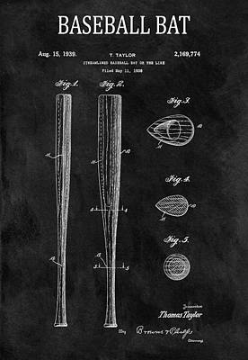 Athletes Royalty-Free and Rights-Managed Images - 1939 Baseball Bat Illustration by Dan Sproul