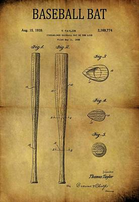Bat Drawing - 1939 Baseball Bat Patent by Dan Sproul