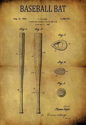 Athletes Drawings - 1939 Baseball Bat Patent by Dan Sproul