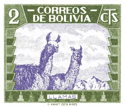 Llama Wall Art - Digital Art - 1939 Bolivia Llamas Postage Stamp by Retro Graphics