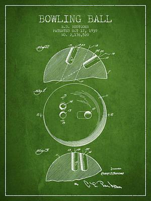 1939 Bowling Ball Patent - Green Art Print