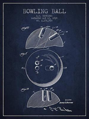 1939 Bowling Ball Patent - Navy Blue Art Print