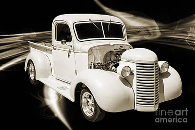 Photograph - 1939 Chevrolet Pickup Antique Car In Sepia Print Or Canvas Print 3519.01 by M K Miller
