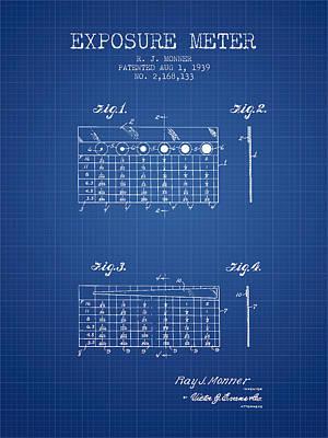 1939 Exposure Meter Patent - Blueprint Art Print by Aged Pixel