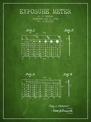 1939 Exposure Meter Patent - Green Art Print by Aged Pixel