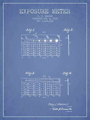 1939 Exposure Meter Patent - Light Blue Art Print by Aged Pixel