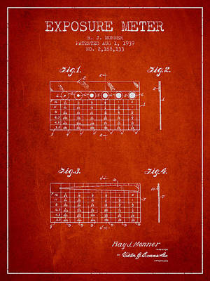 1939 Exposure Meter Patent - Red Art Print by Aged Pixel