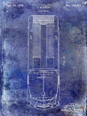 1939 Fire Truck Patent Blue Art Print by Jon Neidert