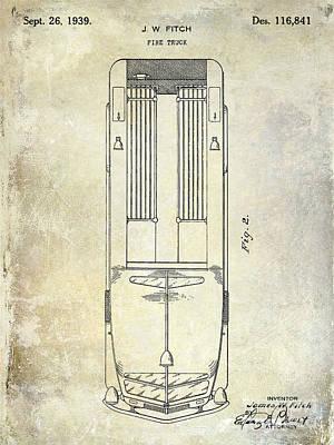 1939 Fire Truck Patent Art Print by Jon Neidert