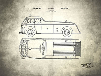 Fdny Photograph - 1939 Fire Truck Patent by Mark Rogan