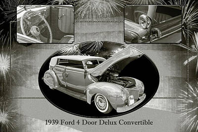 Photograph - 1939 Ford 4 Door Deluxe Convertible 5542.51 by M K Miller