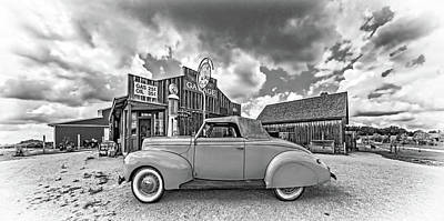 Photograph - 1939 Ford Deluxe Convertible 3 Bw by Steve Harrington