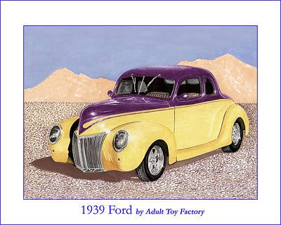 Automotive Drawing - 1939 Ford Deluxe Street Rod by Jack Pumphrey
