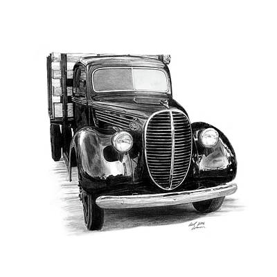 Ford Truck Drawing - 1939 Ford Pickup by Reed Palmer
