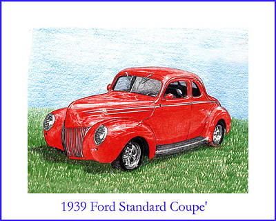 Drawing - 1939 Ford Standard Coupe by Jack Pumphrey