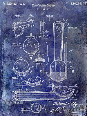 Patent Photograph - 1939 Ice Cream Scoop Patent Blue by Jon Neidert