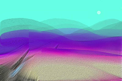 Digital Art - 1939 - Purple Desert Mountains 2017 by Irmgard Schoendorf Welch