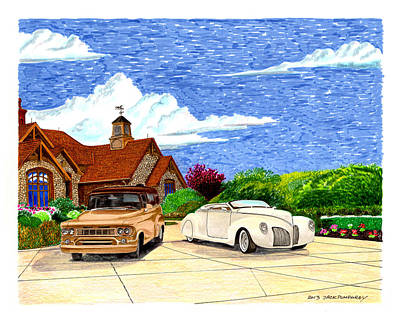 Painting - 1939 Lincoln Zephyr  Family Home by Jack Pumphrey