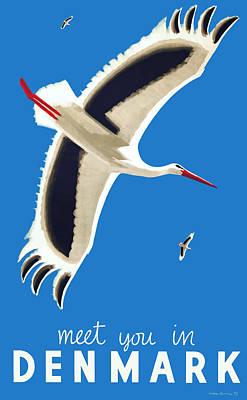 Stork Digital Art - 1939 Meet You In Denmark Travel Poster by Retro Graphics