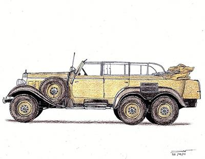 World War 2 Drawing - 1939 Mercedes-benz W31 G4 by Dan Poll