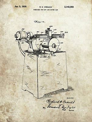 Drawing - 1939 Miter Saw Patent by Dan Sproul