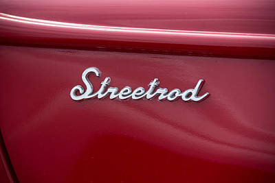 39 Ford Photograph - 1939 Red Ford Truck Streetrod Emblem by Robert Kinser