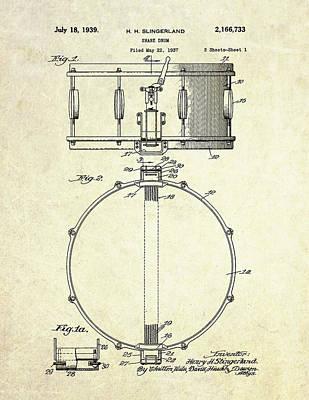 Drum Digital Art - 1939 Slingerland Snare Drum Patent S1 by Gary Bodnar