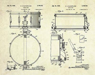 Drum Digital Art - 1939 Slingerland Snare Drum Patent Sheets by Gary Bodnar