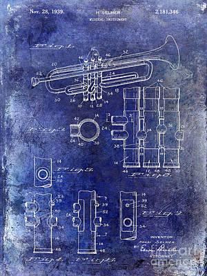 Trumpet Photograph - 1939 Trumpet Patent Blue by Jon Neidert