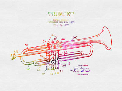 Trumpet Digital Art - 1939 Trumpet Patent - Color by Aged Pixel