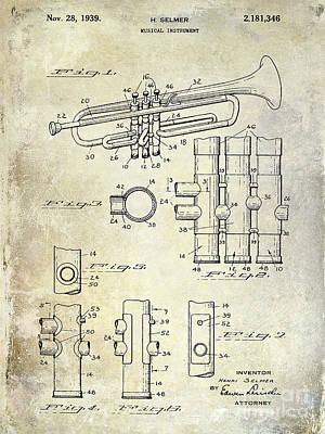 Trumpet Photograph - 1939 Trumpet Patent by Jon Neidert