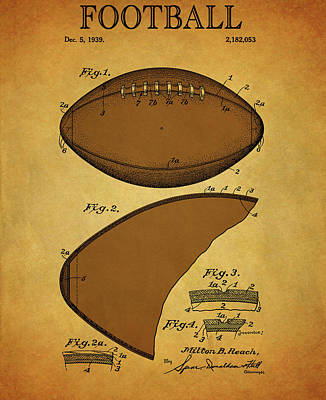Football Mixed Media - 1939 Vintage Football Patent by Dan Sproul