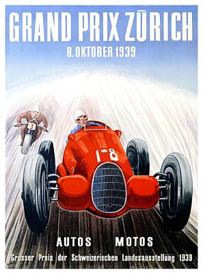 Swiss Digital Art - 1939 Zurich Grand Prix Racing Poster by Retro Graphics