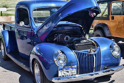 Photograph - 1940 Blue Ford by Alana Thrower