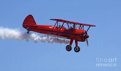 Photograph - 1940 Boeing Stearman Biplane Flyby by Rick Bures