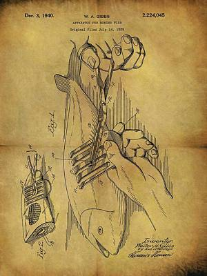 Animals Drawings - 1940 Boning Fish Patent by Dan Sproul
