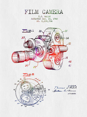 Camera Digital Art - 1940 Film Camera Patent - Color by Aged Pixel
