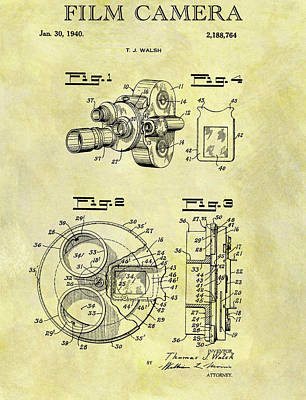 Drawing - 1940 Film Camera Patent by Dan Sproul
