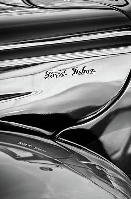 Photograph - 1940 Ford Deluxe Emblem -0280bw by Jill Reger