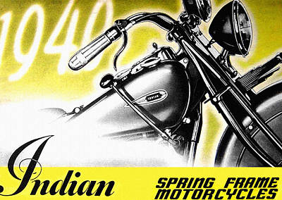 Indian Motorcycle Company Painting - 1940 Indian Motorcycle by Big 88 Artworks